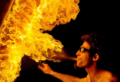 men, fire, sunglasses, night wallpaper