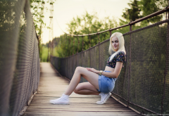 women, blonde, shoes, jean shorts, smiling, bridge, legs wallpaper