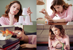 Anna Kendrick, actress, celebrity, brunette, women, collage wallpaper