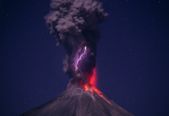 volcano, landscape, clouds, lightning, nature, eruption wallpaper