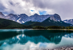Alberta, Canada, nature, landscape, lake, reflections, mountains, clouds, water wallpaper