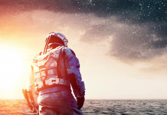 actors, Matthew McConaughey, movies, sky, stars, sea, men, clouds, Interstellar wallpaper