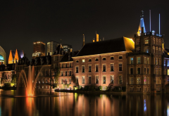 architecture, building, water, reflection, night, lights, old building, fountain wallpaper