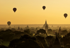 hot air balloons, balloons, Bagan, Myanmar, temple, landscape, nature, sunrise, panorama, mist, fore wallpaper