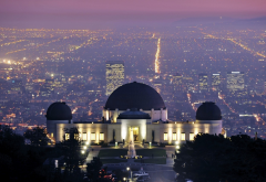 Griffith observatory, Los Angeles, USA, cityscape, city, night, lights, observatory wallpaper