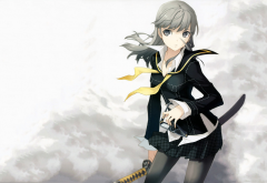Persona series, Narukami Yuu, Persona 4, genderswap, anime girls, anime, sword wallpaper