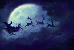 Christmas, Santa Claus, reindeer, moon, clouds wallpaper
