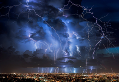 lightning, nature, thunderstorm, electricity, clouds, city, night wallpaper