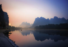 China, nature, landscape, reflection, river, mountains, sunrise, mist, boat, water, calm wallpaper