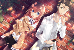 anime girls, anime, Steins, Gate, redhead, Makise Kurisu, Okabe Rintarou wallpaper