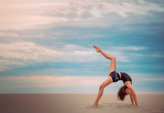gymnastics, women, model, girl, strech, beach, sand wallpaper