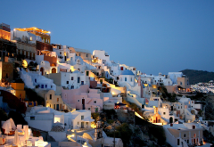 Santorini, Cyclades islands, Greece, city, evening, nature wallpaper