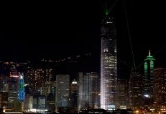 hong kong, city, night, lights, skyscrapers wallpaper