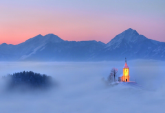slovania, church, sky, winter, mountains, clouds, fog, nature wallpaper