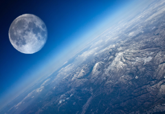 earth, planet, moon, mountains, nature wallpaper