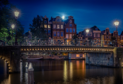 Amsterdam, bridge, lights, canal, moon, building, house, urban, city, Netherlands wallpaper