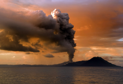 volcano, eruption, clouds, sunset, sea, nature wallpaper