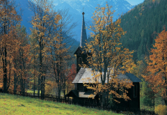 Tatra Mountains, Slovakia, architecture, tree, forest, mountains, fence, church, nature wallpaper