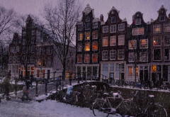 Amsterdam, Netherlands, city, snow, winter, bicycles, bridge wallpaper