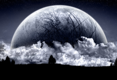 moon, clouds, night, graphics, space wallpaper