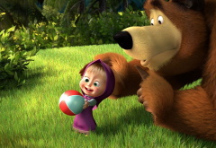 masha and bear, cartonn, movies, grass, bear wallpaper