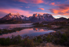 Torres del Paine, Chile, nature, landscapes, mountains, lakes, sunrise, shrubs, snowy peaks, clouds wallpaper
