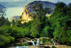 waterfall, mountains, Chile, nature, landscape, forest, tree wallpaper