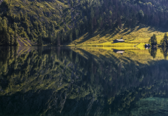 lake, reflections, nature, mountains, forest, cabin, grass, water, tree, calm wallpaper