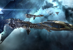 EVE Online, Minmatar, video games, spaceship, concept art, science fiction, space, Stabber Cruiser wallpaper
