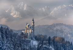 Neuschwanstein, Castle, Germany, Bavaria, nature, landscape, mountains, forest, winter, snow wallpaper