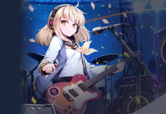 MapleStory2, headphones, electric guitar, microphones, anime wallpaper