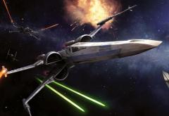 Star Wars, space, spaceship, X-wing, laser, lasers, science fiction, artwork wallpaper