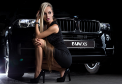 bmw x5, bmw, women, black dress, black heels, high heels, car wallpaper