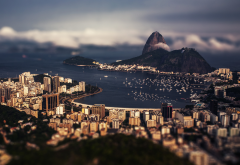 Brazil, Rio de Janeiro, tilt shift, city, sea, mountain, beach wallpaper