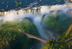 victoria falls, zambia, waterfall, Africa, bridge wallpaper