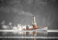 water, boat, men, sailor, steamship, fog, lake, river wallpaper