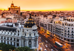 Madrid, Spain, city, cityscape, sunset, street, car, architecture wallpaper