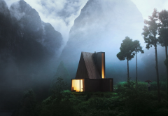 cabin, nature, house, tree, mountains, fog wallpaper