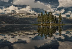 nature, clouds, tree, water, reflection, mountains wallpaper