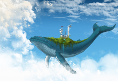 digital art, fantasy art, animals, whale, clouds, sky, futuristic wallpaper