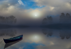 fog, mist, calm, atmosphere, boat, lake, reflection, clouds, nature, landscape wallpaper