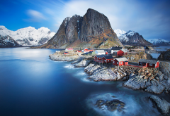 Lofoten, Norway, fjord, snow, nature, landscape, mountain, tree, rock, water, sea, bay wallpaper