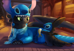 Lilo and Stitch, dragon, Toothless, How to Train Your Dragon, Stitch wallpaper