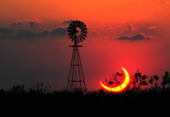 nature, landscape, sun, texas, eclipse, windmill wallpaper