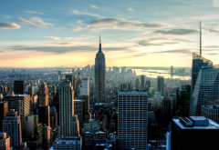 new york, usa, city, cityscape, sunset, skyscrapers wallpaper