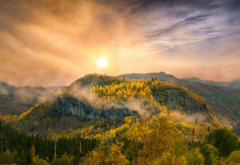 nature, mountains, sunset, forest, fall, clouds, sky wallpaper