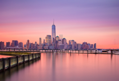 New York City, reflection, One World Trade Center, sunset, usa, city wallpaper