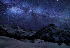 starry night, milky way, nature, mountains, winter, snow, germany, space wallpaper