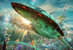 futurama, realistic, rocket, planet express, spaceship, futuristic, city, movies, cartoon wallpaper