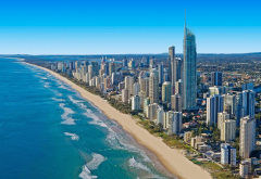 gold coast, australia, ocean, city, skyscrapers, beach wallpaper
